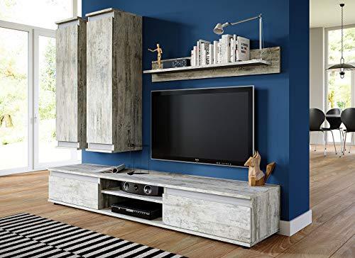 Wohnwand mit Hängeschränken, TV-Lowboard & Regal Bild 3*