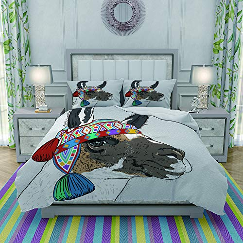 FYCORDB Juegos de Fundas para edredon,Ropa de Cama,Llama Alpaca with an Ethnic Colorful Hat Peruvian Sketch Style Animal Abstract Pattern,Fibrae Xtrafina,Edredones y 2 Almohadas