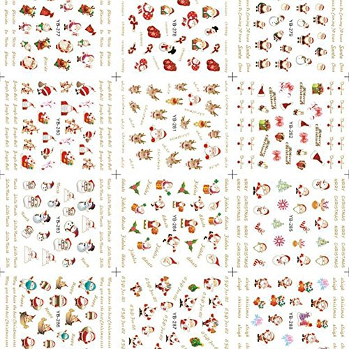 SSITG 12x Nail Art-stickers watertransfer Kerstmis nagelsticker sticker