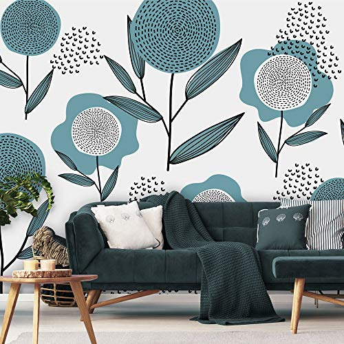 Behang Retro flowers - petrol 280 cm breed