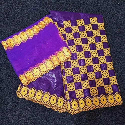5 Yards+2 Yards India Kant Stof met Blouse Beaded Gold Line Geborduurd Kanten Basin Stof 3