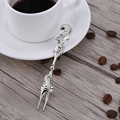 3Pcs/Set Fruit Fork European Style Two Teeth Cake Dessert Forks Vintage Retro Tableware Set Fish Metal Handle (Silver)