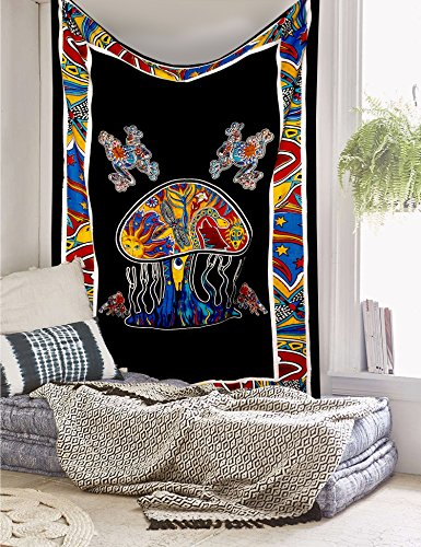 Jaipur Handloom Trippy Psychedelic Mushroom Tapestry Frogs Magic Shrooms Tapestry Dorm Tapestry Hippie Tapestry Wall Hanging Fantasy Bohemian Bedding Bedspread Trippy Animal Wall Art
