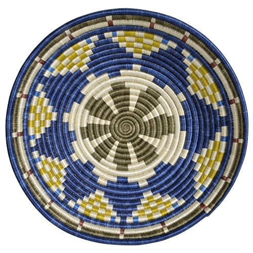 All Across Africa Handwoven 14-inch Basket, Blue Night and Citron