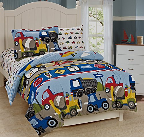 Mk Collection Twin Size Trucks Tractors Cars Kids/boys 2 Pc Duvet Set Blue Red Yellow New ,Twin, Duvet Trucks