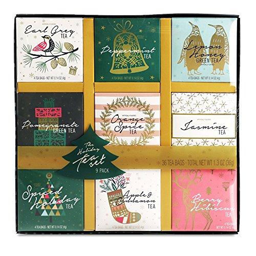 Tea Variety Gift Set - 9 Unique Blends | Earl Grey, Peppermint, Jasmine, Lemon Honey, Pomegranate, Orange Spice, and more