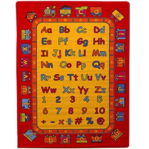 "Mybecca ABC Fun Kids Rugs Playtime Alphabet Train Area Rug, 5"" x 7"" Non-Slip Backing"