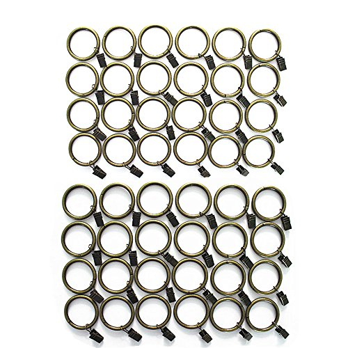 M-Aimee Premium Drapery Clip Rings -5mm Extra Thick(1.5 Inch Interior Diameter) - Set of 48pcs (Antique Bronze)