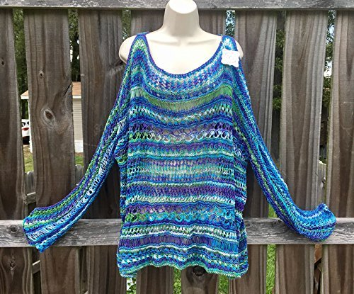 Handmade Lacy Crochet Layering 2X Tunic in Blue/Purple/Green/White Sea Color ~ Long Sleeve Cold Shoulder