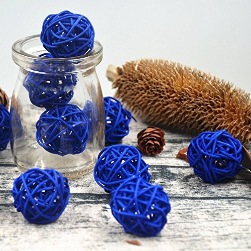 10PCS Royal Blue Decorative Natural Rattan Craft Ball Prince Baby Shower Festival Christmas Gift Hanging Party Decoration Nursery Mobiles