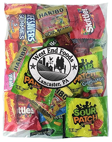 Candy Assortment (1 Pound, Small Bag) of Gummy Bears, LifeSavers, Skittles, Starburst, Swedish Fish, Twizzlers, Nerds, Sour Patch, Lollipops for Party Snacks