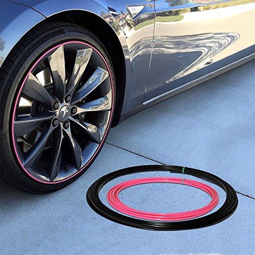 Upgrade Your Auto Wheel Bands Pink Insert in Black Track Pinstripe Rim Edge Trim