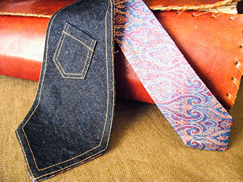 Denim Neck Tie With Little Pocket Handmade In Italy Double Face Necktie Double Sided Burning Man Steampunk Exclusive Brocade