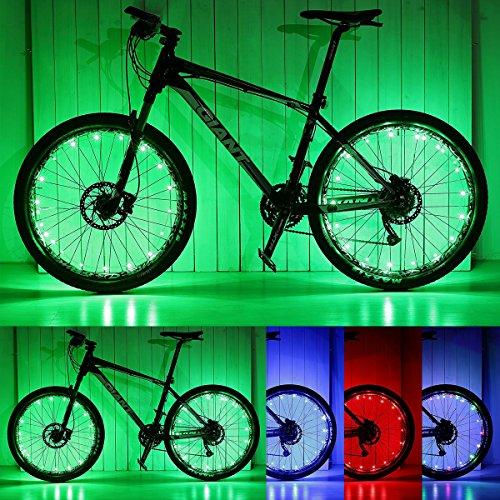 PAMASE 2 Packs Waterproof LED Bike Wheel Light, 20 LED Lamp Bead Strip for Bicycle Spokes and Rims - Green