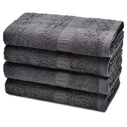 Alurri Hotel and Spa Like Set of 4 Luxury Hand Towels Super Soft and Quick Absorbent – Made of 100% Natural Cotton Material – Machine Washable - Dry Hand & Face - 16x28 inch (4, Grey)