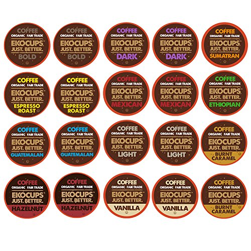 EKOCUPS Organic and Fair Trade Gourmet Coffee Single Serve Cups for Keurig Brewer, 20 Count