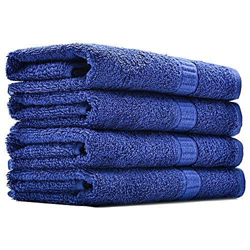 Alurri Hotel and Spa Like Set of 4 Luxury Hand Towels Super Soft and Quick Absorbent – Made of 100% Natural Cotton Material – Machine Washable - Dry Hand & Face - 16x28 inch (4, Navy)