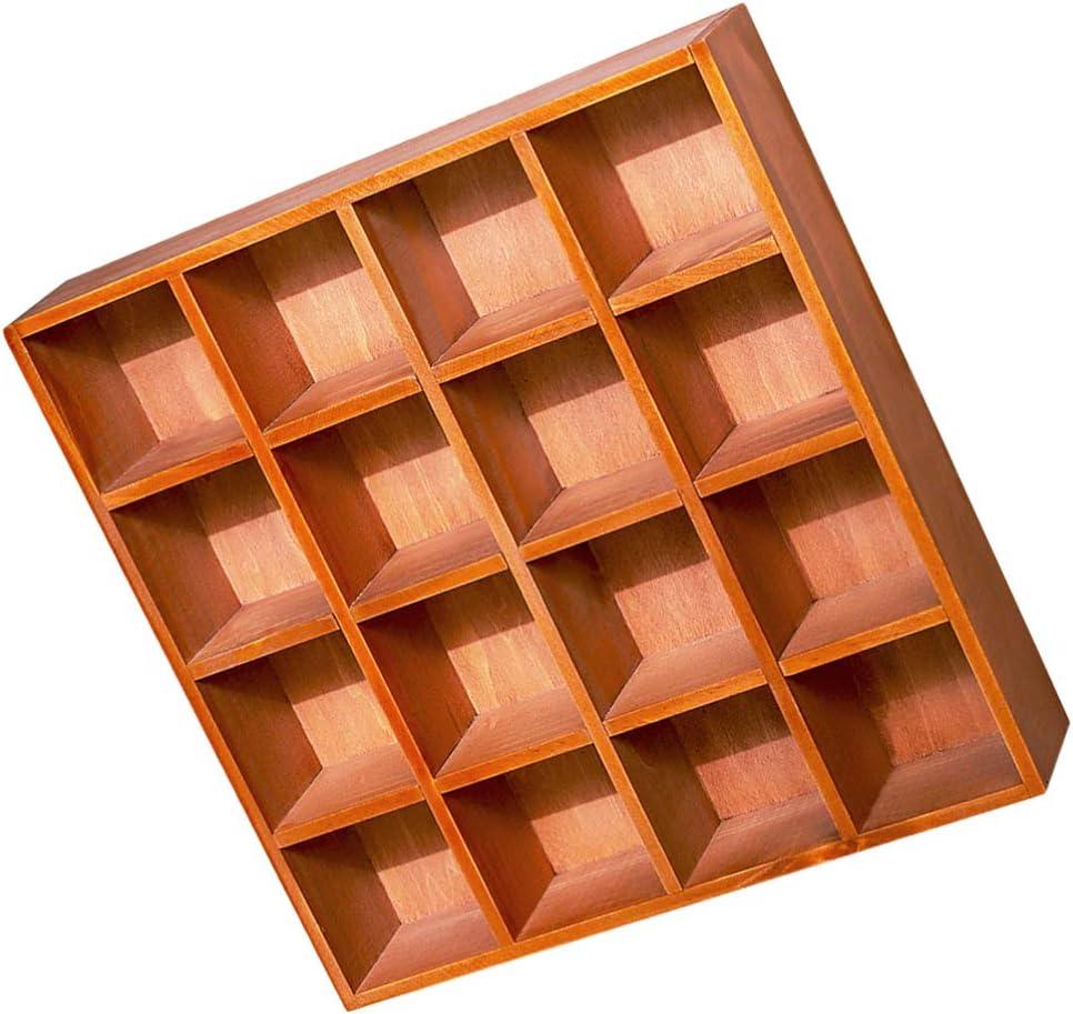 DOITOOL Freestanding Wood Shadow Max 68% OFF Box Rustic Grids Shelf 16 Year-end gift