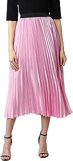 StyleStone Women's Pink Satin Pleated Skirt