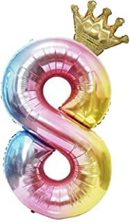 40inch Balloons Number 8 Reusable Big Size Foil Birthday Balloons Party Decorations Rainbow Crown Gradient Digit for Girls...