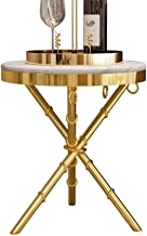 Living Room Furniture Metal Sofa Side Table White Marble Desktop Stainless Steel Titanium Metal Base Personality Telephone...