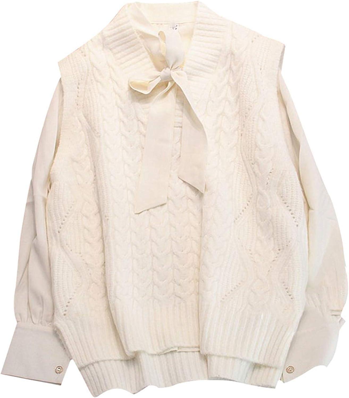 Outwears 2021 Pull sans manches en tricot avec col en V pour femme