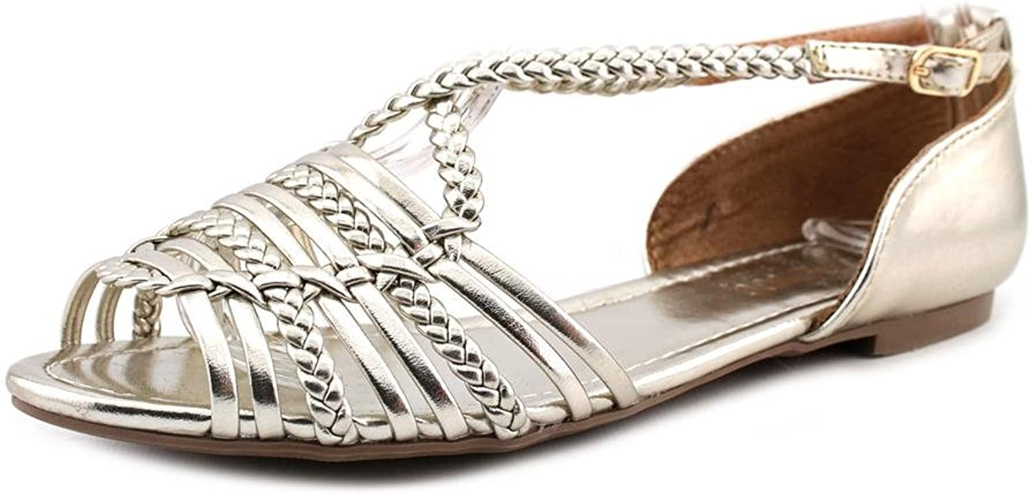 Report Cristina Womens Size 7 Silver Faux Leather Dress Sandals shoes