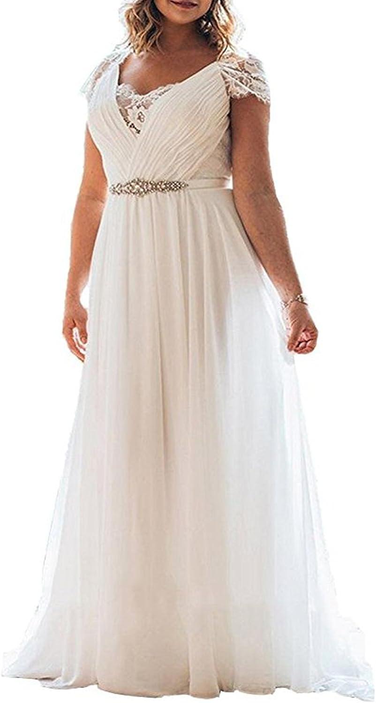 Alanre Deep Scallop Appliques Lace Short Sleeve Plus Size Beach Wedding Dress For Bride At Amazon Women S Clothing Store