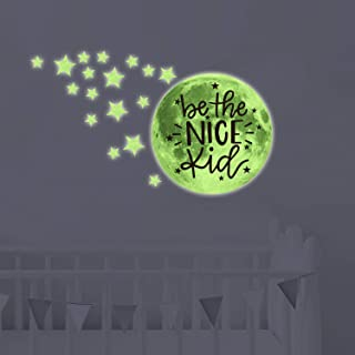 chillake Be The Nice Kid Inspirational Quote Glow in The Dark Moon Stars Wall Decals for Kids Boy Girl Nursery Room Decor