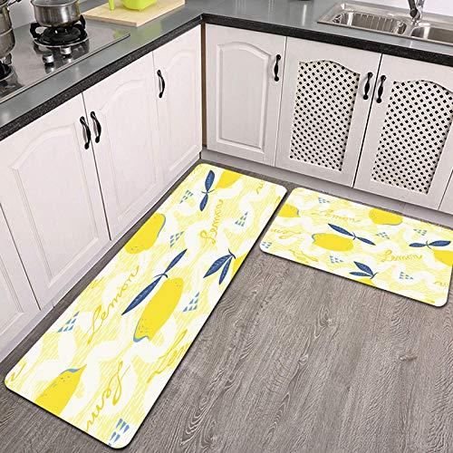 Juegos de alfombras de Cocina,Frutas de limón de Patrones sin Fisuras,Antideslizantes Lavables de 2 Piezas Alfombra súper Absorbente
