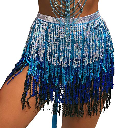 MUNAFIE Women's Belly Dance Hip Scarf Performance Outfits Skirt Festival Clothing (One Size, Silver/Blue/Blue)