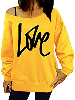 Womens Sweatshirts Long Sleeve Casual Off Shoulder T Shirt Tops Letter Print Loose Pullovers Letter Printed Fashionable Cl...