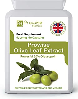 Olive Leaf Extract 6750 mg - 60 Capsules | UK Manufactured | GMP Standards by Prowise Healthcare