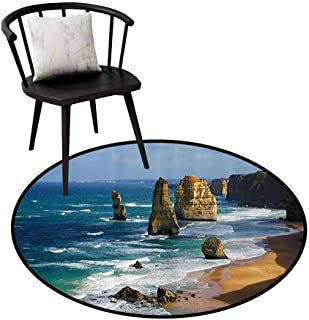Multi-Pattern Round Rug Seaside Decor Collection Can be Folded Australia Rock Face Lookout by The Sea Sightseeing Panoramic Picture White Blue Teal D31(80cm)