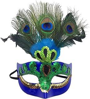 Xinwcanga Máscara con Plumas del Pavo Real para Halloween Disfraces de Cosplay Halloween de la Navidad