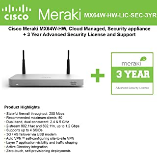 Cisco Meraki MX64W Wireless Firewall Security Bundle, 200Mbps FW, 5xGbE Ports - Includes 3 Years Advanced Security License