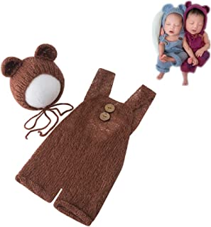 Fashion Newborn Boys Girls Baby Costume Outfits Photography Props Bear Hat with Romper Sets