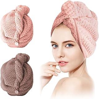 SCOBUTY Haartulband, handdoek, tulband handdoek, 2 stuks handdoek voor het haar, sneldrogend, haardroogdoek met knop, abso...