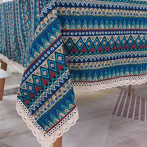 Nappe en Lin Coton Nappe Tissu Table Tissu Bohème Style Ethnique,140 * 160cm