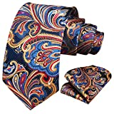 HISDERN Paisley Tie for Men Handkerchief Woven Classic Floral Men's Necktie & Pocket Square Set Orange