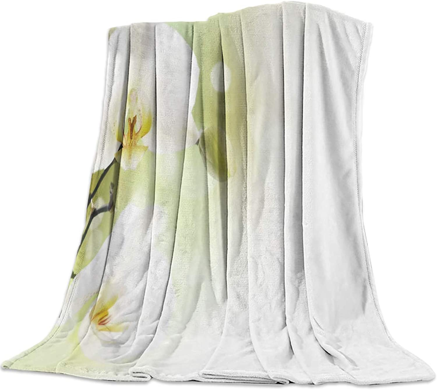 T&H Home Fuzzy Weighted Blanket Flower Blankets, White Phalaenopsis Warm Flannel Throw Blanket for Baby Girls Boys Adult Home Office Sofa Chair Cars 40 x50
