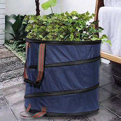 king do way Sacs à Déchets de Jardin, Sac à Feuilles Pliable Rond en Polyester Oxford avec 87 litres de Volume pour Herbe/Plantes/Compost (Bleu)