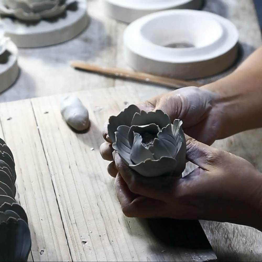 Insiswiner Handcrafted Ceramic Flowers Sculpture Home Hanging 3D Wall Art Decor Decoration Orange Rose 2.8