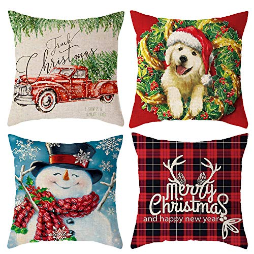 Xilanhhaa Set of 4 Winter Pillow Covers 18x18 Inch Christmas Decorations Pillow Covers,Cotton Linen Square Pillowcases for Living Room,Bed,Sofa,Couch and Car Christmas Decorations