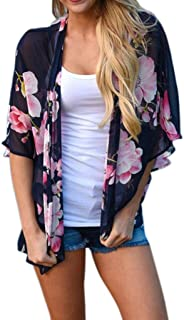 Gillberry Women's Floral Print Chiffon Loose Shawl Kimono Cardigan Cover Blouse
