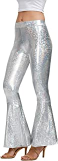 Spadehill Halloween Women's Mermaid Flared Shiny Leggings