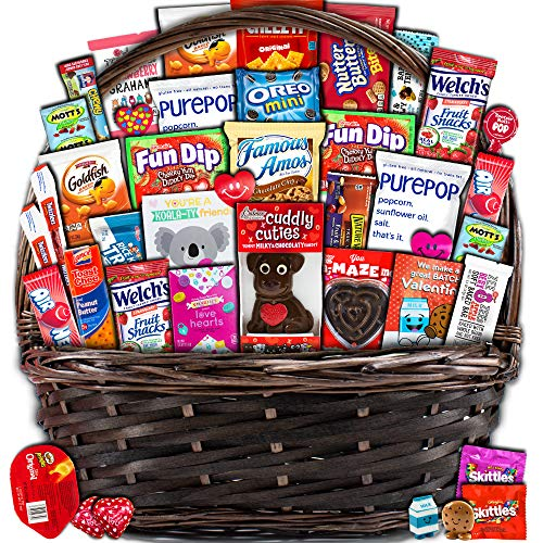 Valentine's Day Basket (40ct) Snacks Chocolates Candy Filled Wrapped Assortment Variety Bundle Crate Present for Boy Girl Friend Student College Child Husband Wife Boyfriend Girlfriend Love Niece