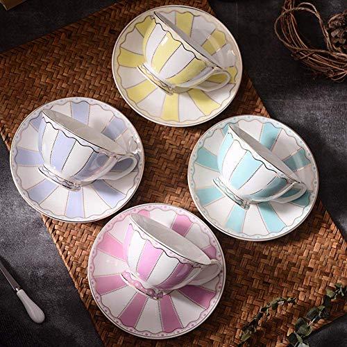 ACOOME Juego de tazas de té y platillo, serie rayas, 4 paquetes