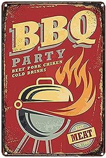Mopoin Plaque en tôle rétro BBQ Retro Plaque en tôle Plaque en tôle vintage avec motif de bière pour café, bar, pub, décor...