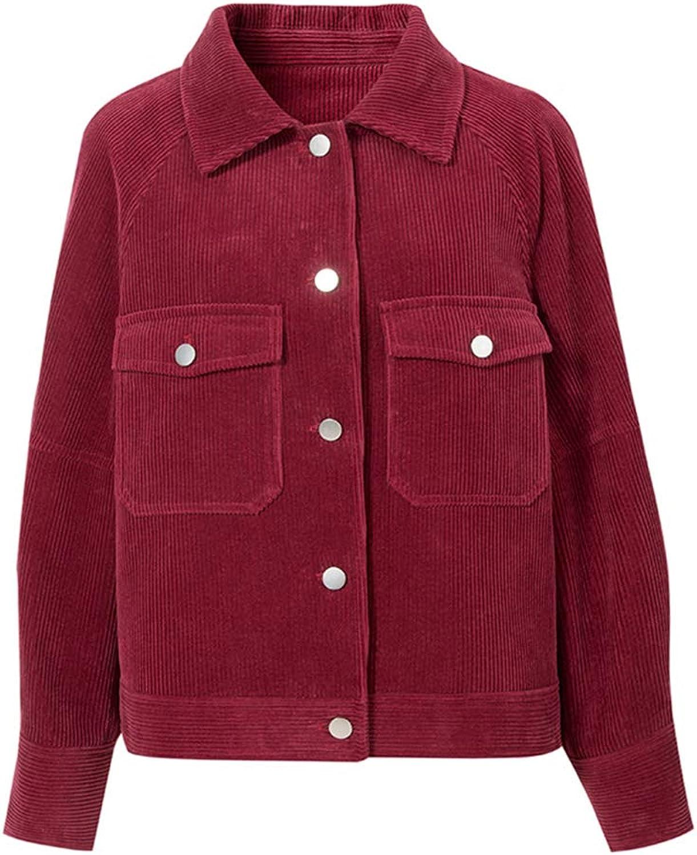 Women's coat Jacket Spring Short Coat Ladies Motorcycle Jacket Corduroy Women's Loose Ladies Jacket Fashion Warm Women's Clothing, 100% Cotton (color   Red, Size   M)